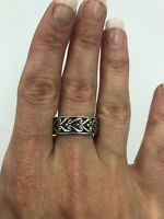 Stunning Unique Vintage 925 Sterling Silver Band  Ring#28
