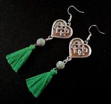 Tibetan Style Heart Dark Green Tassels with Green Agate Gemstone Earrings #1292