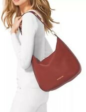 NWT Michael Kors Leather Raven Shoulder Grommet Red (Brick) $348 Large STUNNING