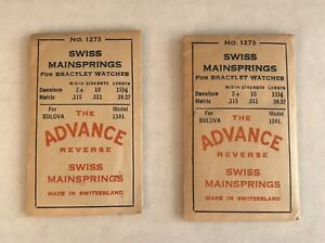 Lot of 2 No. 1273 Swiss Mainspring Made In Switzerland Vintage Watch Parts