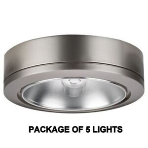 PACK OF 5 - SEA GULL 9858B-962 12V XENON DISK PUCK LIGHT, BRUSHED NICKEL - 908