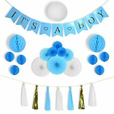 Baby Shower Party Decorations Kit It's A Boy Blue Gold Theme Big Lantern Tassels