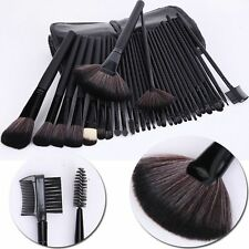PRO NEGRO 32 piezas kabuki maquillaje set de brochas con bolsa con Bobby Marrón