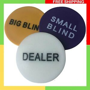 POKER CHIP SHOP 3 PACK - DEALER BUTTON + SMALL AND BIG BLINDS 48mm