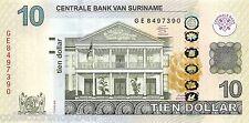 Suriname 10 Dollar 2012 Unc Pn 163b