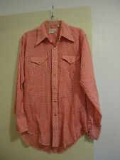 Vintage Wrangler Red/White Checkered Pearl Snap Western Shirt USA 16/34
