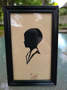 Vintage Hand Cut Silhouette of Young Boy in Frame~ Signed F. Ward 1941 Sweet ❤