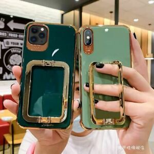 Metal Square Support Phone Case For iPhone 11 12 Pro X XR XS Max 7 8 Plus Cover