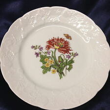 "LIERRE SAUVAGE CNP WILDFLOWERS OF FRANCE SALAD PLATE 8"" EMBOSSED GRAPES RIM C"
