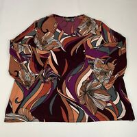 Chico's Travelers Women's Size 3 (XL) Top Multicolor Floral Bell Sleeve Stretch