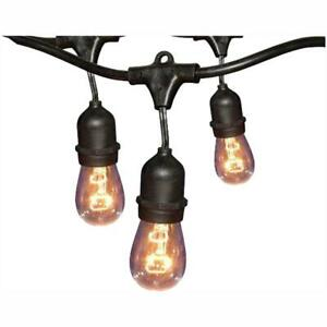 Hampton Bay 12-Light 24 ft. Black Commercial Incandescent String Light