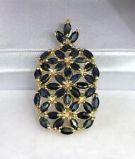 14k Solid Yellow Gold Rectangle Cluster Pendant, Natural Sapphire 2.92grams