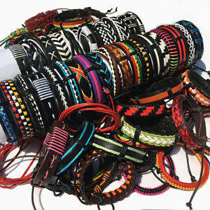 Random 50Pcs Mix Styles Leather Bracelet Cuff Men's Women's Jewelry Party Gift