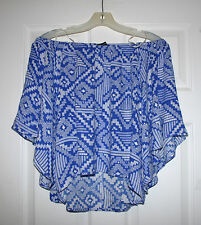 Olivaceous Womens L Blue Pattern Off Shoulder Kimono Blue Print Blouse Top L NWT