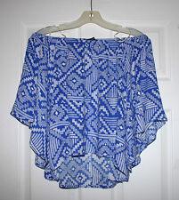 Olivaceous Womens L Blue Pattern Off Shoulder Kimono Blue Print Blouse Top L NWT