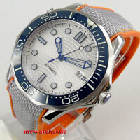 41mm bliger sterile white dial sapphire ceramic bezel date automatic mens watch