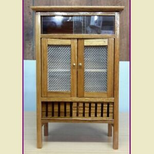 Small Display Cabinet Wood Teak Handcraft Cupboard Furniture Dollhouse Pantry