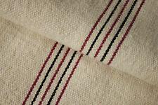 Antique GRAIN SACK European natural hemp linen with RARE BLACK + RED stripes