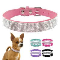 Bling Rhinestone Dog Collar Suede Leather Crystal Pet Collars for Chihuahua XS-M
