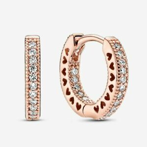 925 Genuine Pair of Hearts Hoop Earrings Sterling Silver Rose Gold Colour+Pouch