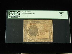 US Continental Currency - $7 - September 26, 1778 ** CC-80 ** (CC-253)