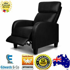 Luxury Sofa Recliner Chair Lounge Padded PU Leather Armchair Couch Black