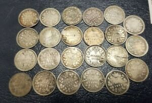 LOT OF 23 CANADA SILVER 5 CENTS**** 1858-1899