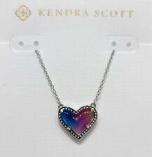 Authentic Kendra Scott 966 Rhodium Ari Heart Watercolor Pendant Necklace