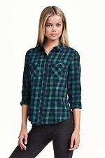 H&M - Dark Blue/Green Checked/Plaid Shirt/Top Size 14 Brand New