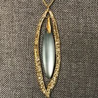 Alexis Bittar Carved Blue Green Lucite Crystal Gold Chain Necklace Signed