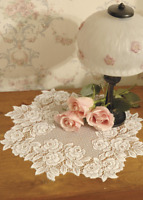 "SET OF 2 Heritage Lace ECRU TEA ROSE 14"" Round Doilies - Made in USA!"