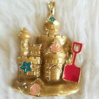 "Large Sandcastle Shells Ocean Necklace 18"" NIB RMN Gold Tone Wearable Art CUTE!!"