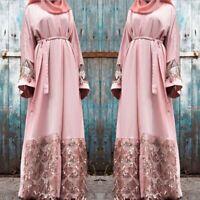 Dubai Lace Tassels Cardigan Open Front Abaya Kaftan Muslim Women Maxi Robe Dress