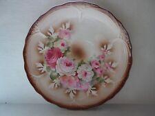 "Lg Vintage Decorative Embossed Rose Floral Plate Germany Pottery 12"" Diameter"