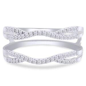1/3 Ctw Diamond Split Shank Solitaire Enhancer Guard Wrap Ring 10K White Gold