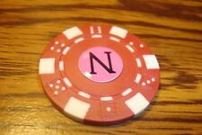 """ N "" Monogram Dice design Poker Chip,Golf Ball Marker,Card Guard Red/White"