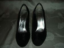 "CAPARROS BLACK SEQUINED FABRIC SHOES WITH 3.75"" HEELS. SZ 8.5B"