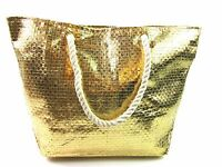 Ladies New High Quality Lightweight Metallic Beach Bag Holiday Travel Shopping