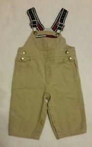 Tommy Hilfiger Tan Logo Adjustable Overalls Cargo Carpenter Toddler Boys 6-12 Mo