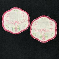RARE Vintage SET Crochet Lace Doily Hand Embroidered Flower Arrangement Pink EXC