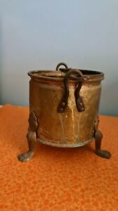 Large brass solid pot three legged vintage collectable