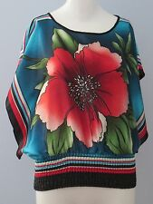 XXI Size S Multi-Color Floral Round Neckline Dolman Batwing Sleeve Blouse