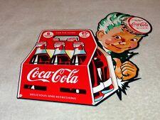"""VINTAGE COCA COLA 6 PACK BOTTLES W/ BOY 12"""" BAKED METAL SODA POP GAS & OIL SIGN!"""