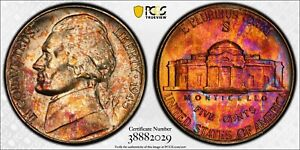 1945-S PCGS MS66 Crazy Toning Toned Silver War Nickel Reverse Slabbed PQ Color