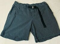 Columbia Men's Striped Blue White L Large Walk Casual Boat Shorts Outdoor Belted
