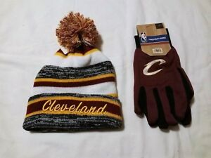 CLEVELAND CAVALIERS GLOVES & TEAM COLORED CUFFED POM BEANIE  ASSORTED COLORS