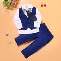 4pcs kids Baby clothes party tuxedo daily suit shirt+waist+tie+pants gentleman