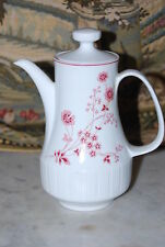 Wonderful German Modernist Mid Century Coffee Tea Pot White With Pink Flowers