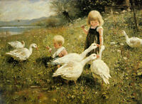 Stunning Oil painting Ducks with little girl boy in landscape hand painted in