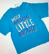"*NEW* ""Most Awesome Little Brother"" Baby Boys Shirt 12 18 24 Months 2T 3T 4T"